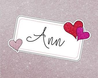 Personalized Valentine Die Cut