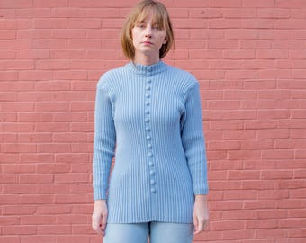 vintage blue ribbed sweater | pastel mock neck knit | button up sweater | pale blue knit top | s | small | 1970s | 70s