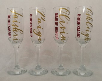 Wedding Glasses, Bridesmaid Gifts, Wedding champagne flutes, Hen Party, Wedding Favours, Bachelorette gifts, First Toast glases