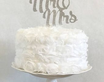 Mr and Mrs Wedding Cake Topper, Engagement Party,  Anniversary Celebration, Elopement, Vow Renewal, Personalized Glitter Decorations