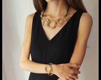 "GOLDEN brass NECKLACE gold look ""Choker""-Golden jewels-jewelry-contemporary necklace"