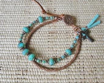 Boho Bracelet: Turquoise/Leather/Copper/2 Strand Bracelet/Sundance Style/Gift for Her/3rd Anniversary/Layering Bracelet/One of a Kind