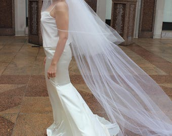 3-Tier Cathedral Veil including 2-tier Fingertip Blusher Veil Traditional Veil, Tiered Veil,  Handmade - Renee
