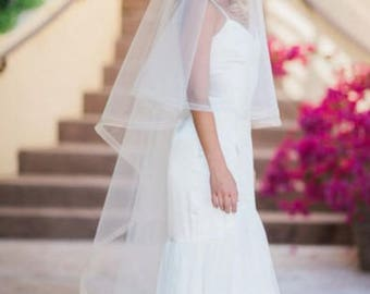"HORSEHAIR EDGE CHAPEL Veil -1/2"" or 1""   w/ Blusher and Swarovski Pearl & Rondelle Comb, Wedding Veil  - Victoria"