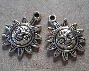 Charms Sun pendants Sun face Sun, silver, 20 x 17 mm