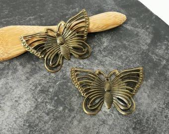 Bronze print butterfly, butterfly art deco Butterfly filigree, 42 x 28 mm