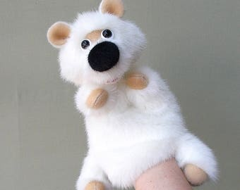 White bear. Bibabo. Toy glove. Toy on hand for home puppet theatre. Marionette.