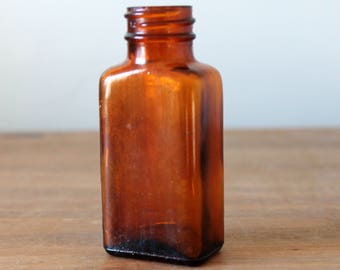 Vintage Brown Amber Apothecary Medicine Pill Bottle 2 oz.
