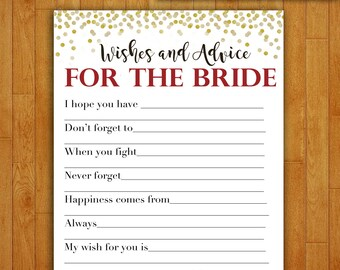 Bridal Shower Game Download - Advice & Wishes for the Bride - CRANBERRY and GOLD Glitter - Instant Printable Digital Download - diy Maroon