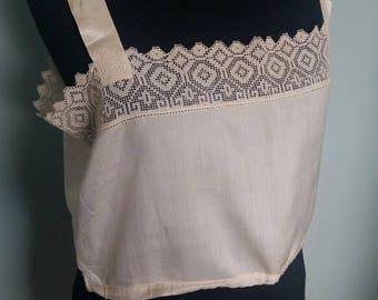 Vintage camisole, 1920s pale gold silk cotton blend filet lace satin straps camisole vest petite to small underwear lingerie blouse vintage