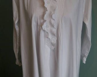 Authentic Victorian nightgown white cotton antique nightdress hand sewn long crisp pintucks broderie anglaise Small Medium vintage frilly