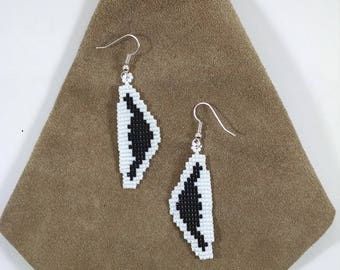 Beaded Airplane Earrings, Pilot Jewelry, Northrop Grumman B-2 Stealth Bomber, Modern Air Force Aviation, White and Black Aircraft Jewelry