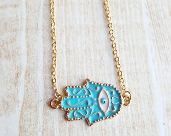 Hamsa Necklace Gold Turquoise Choker Boho Jewelry Cheap Turquoise Necklace for Women Evil Eye Necklace Protection Jewelry Hand of Fatima