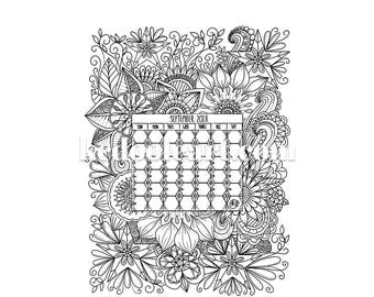 Instant Download - Ready to Print - September 2018 - Coloring Page