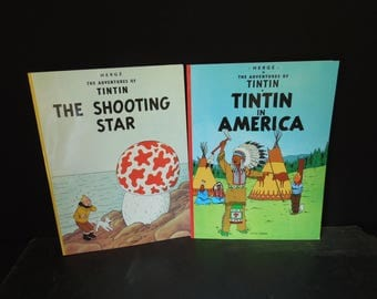 Tin Tin In America and TinTin The Shooting Star  - Adventure Series  - Graphic Novel - Two Books by Herge 1970's