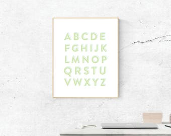 Green Alphabet Print, Digital Print, Alphabet Art, Love Art, Digital Download, Alphabet Wall Art, Wall Prints, Printable Art, ABC's Poster