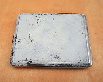 Vintage cigarette case Rusty tiny silver box