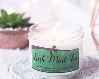 Mint Tea candle,  Spring Candle, tea candle, mint candle, gift for tea lover, Tea gift,tea lover, scented candle, candles, kitchen candle