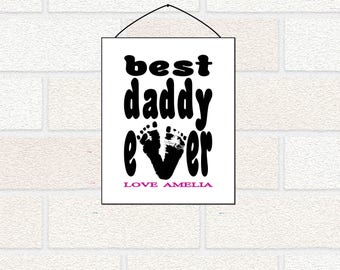 New Dad gift from baby, Footprint gift, Dad from Daughter, Best Daddy Ever, new dad personalized gift, Best Papa Ever, First Father's Day