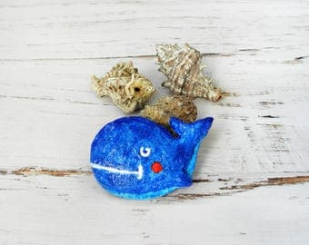 Blue Whale Brooch, Paper Mache Brooch, Blue Whale Pin, Animal Brooch, Recycle Fish Pin, Sea Fish Jewelry, Ocean Jewelry, Paper Fish Brooch