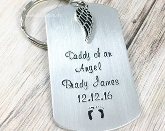 Daddy Of An Angel, Baby Memorial Keychain, Personalized Memorial Gift, Loss Of Child, Infant Loss Keyring, Stillborn Gift, Remembrance Gifts