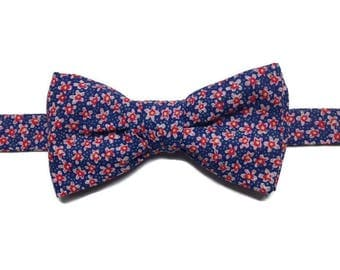 bow tie with red flowers, bowtie, floral BowTie, pre tied bow, man bow tie wedding gift dad gift