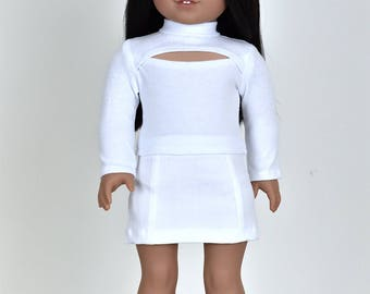 CutOut Chest Long sleeve top 18 inch doll clothes Color White