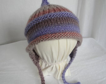 child's earflap hat, lilac/pink child cap, todder chullo, trapper hat, girl wool mix chullo, hat with chin ties, lilac multi cap, pretty hat