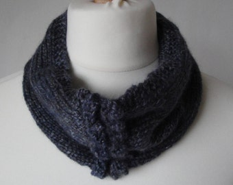 blue silk-mix cowl, picot trim snood, luxury neckwarmer, gray-blue snood, merino and silk cowl, new collection snood, picot trim loop scarf