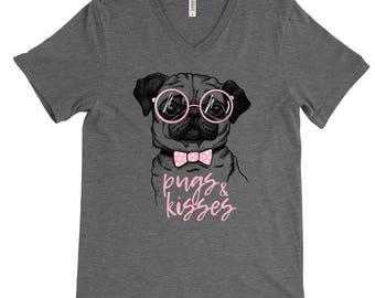 Pugs and Kisses Shirt - Pugs Shirts - Pug Lovers - Dog Shirts - Dog Lover Shirts - Unisex Adult Shirts - Holiday Gifts - Pugs and Hugs
