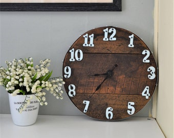 "Wall Clock , Recycled Wood Clock , Industrial Style , 12"" Round"
