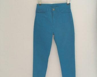 Vintage High Waist Blue Stretch Side zipper Pants XS