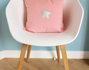 """""""Coral"""" pillow cover pink dapper and star - home decor - square - 40 x 40 """""""