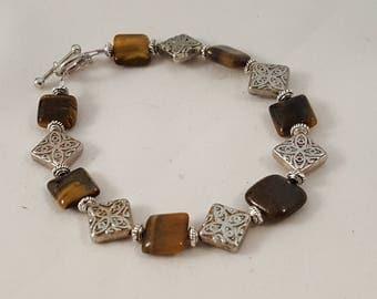 Brown Square Tiger Eye & Silver Tribal Bracelet - Tribal Bracelet - Brown Bracelet - Stone Bracelet - Brown Stone Bracelet - Brown - Tribal