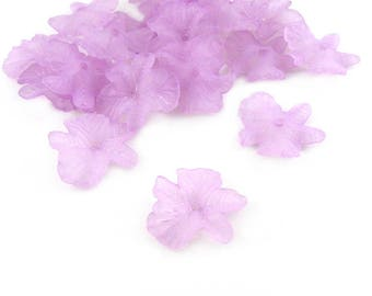 Light Purple Frosted Acrylic Flower Beads, 23x5, Lucite Flower Beads, Acrylic Flowers, Bead Caps, Floral Beads, Frosted Purple Beads