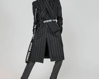 AW18, Gwen Black and White Wool Coat by Other Theory, 18AW002