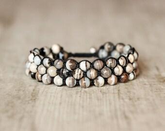 wide bracelet shamballa woven bracelet knotted bracelet gray bracelet 3 rows bracelet unisex bracelet adjustable bracelet healing jewelry