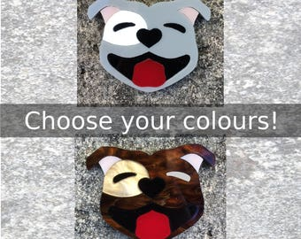 Staffy Dog Acrylic Brooch with eye patch - handmade laser cut plastic pin - select your colours