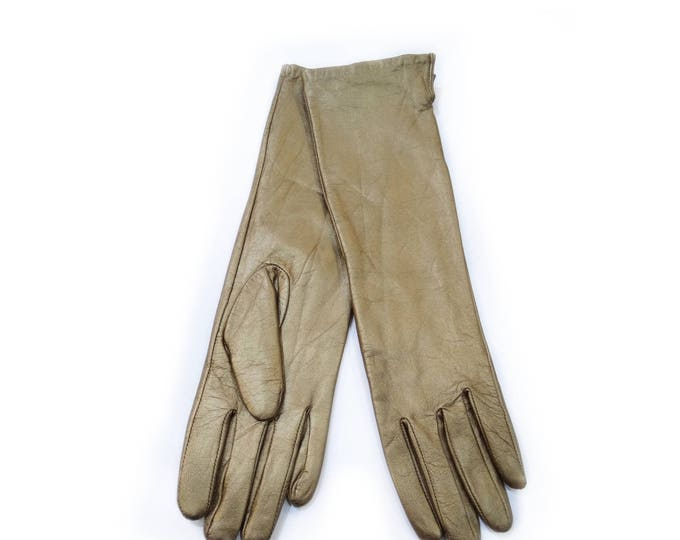 Long leather gold gloves F436