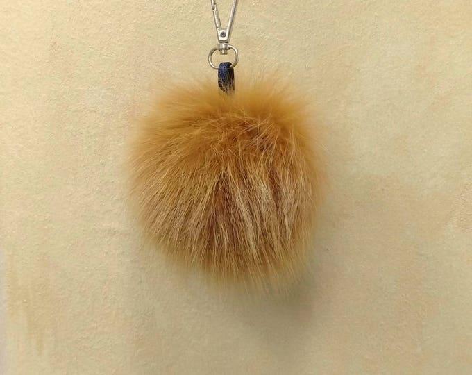 Fox Fur Pom Pom, Bag Pom Pom,Fur keychain F655