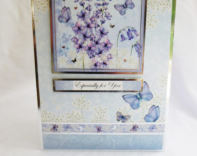 Butterfly Birthday Card, Greeting Card, Silver and Blue, Female, Any Age, Mother, Sister, Daughter, Niece, Aunt, friend