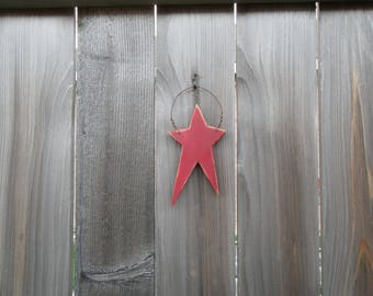 Red Primitive Star Ornament