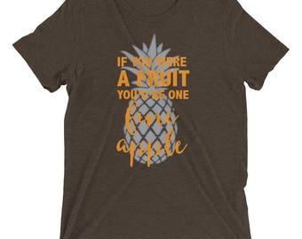 If You Were A Fruit Short Sleeve Tee Pineapple Design, womens clothing, tops and tees, shirt, tshirts, women shirts, graphic tees, pineapple