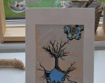 BLUE and YELLOW TREE print geometric shapes biological drawing