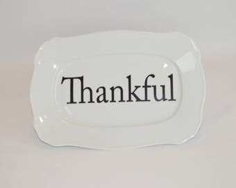 """Jolee 12"""" x 8"""" Rectangular Plate (shown with image #  T13- Thankful)"""