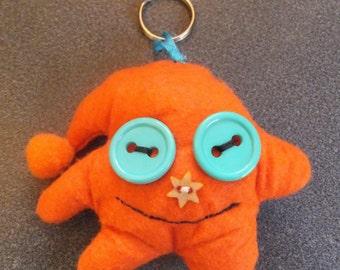 Orange Cute Boggle Eyed Felt Monster Keyring