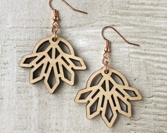 Lotus Earrings | Lasercut, Wood, Maple, Wood Cut, Flower, Buddhism, Buddhist, Hindu, Geometric, Rose Gold Hooks, Feminine, Dainty, Floral