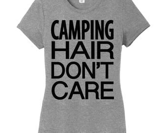 Camping Hair Don't Care Women's Tee,  Camping Shirt, Camp Shirt, Camp Hair Don't Care, Camping shirt, Camping, Hiking, Lake Hair Don't Care