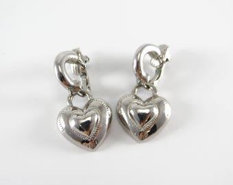 Tifari Earrings, Silver Heart Clip on Earrings, Vintage Tifari Earrings