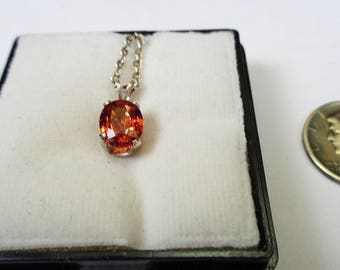 1.41ct. Spessartite Garnet Necklace .8 x 6mm. Oval in Silver with 18inch Chain.